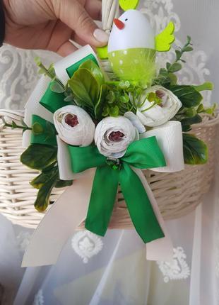 Прикраса на корзину зелененька