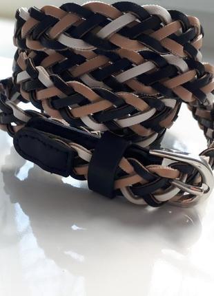 Акцентный плетенный  ремешок\ремень косичка из кож-зама\размер универсальный
