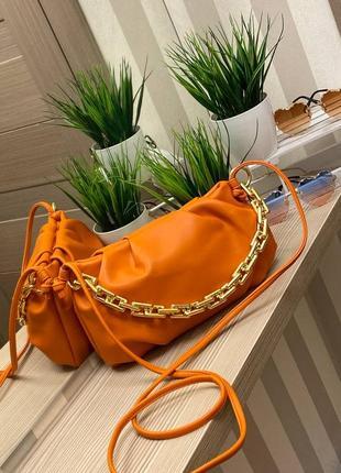 Женская рыжая сумочка клатч