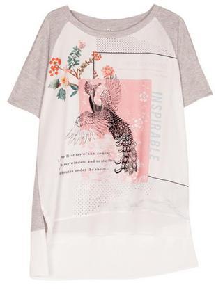Комбинированная футболка с ярким принтом жар-птица stradivarius рр s оригинал новая