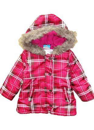 Topolino демисезонная яркая куртка на флисе в клетку р. 86-92 см