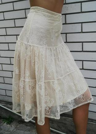 Очень красивая ,кружевная,гипюровая,ажурная  юбка h&m