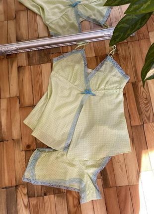 Шелковая пижама с шортами в горох, женский комплект, ночнушка,  белье