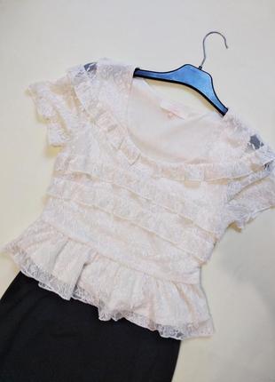 Актуальный кружевной топ ажурная блуза блузка miso xs-s