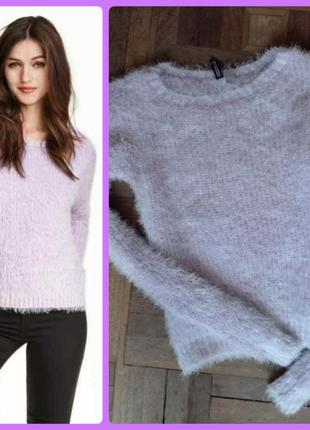 Лавандовый пушистый пуловер h&m s