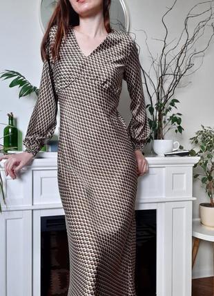 Шикарное шелковое платье миди мидакси