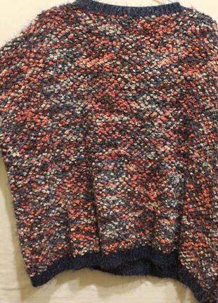 Широкий свитер пряжа травка+барашки2 фото