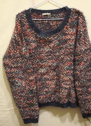 Широкий свитер пряжа травка+барашки1 фото