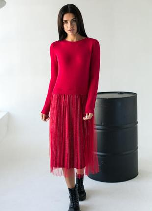 Шикарное платье с двойной юбкой в серебряную полоску🖤❤️