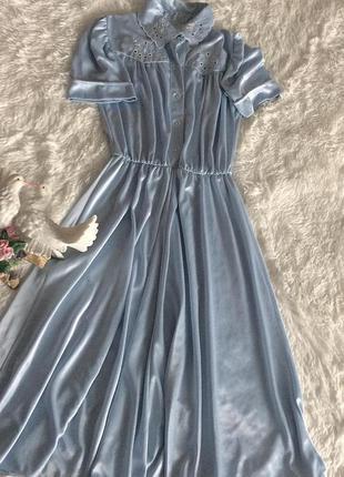 Нереальное женственное голубое платье в бельевом стиле