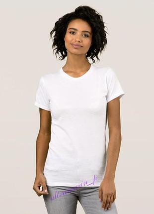 Женская белая  футболка базовая классическая однотонная  приталенная fruit of the loom