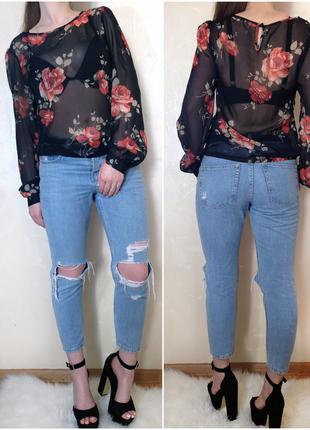 Шифоновая блуза в розах от бренда e-vie размер м