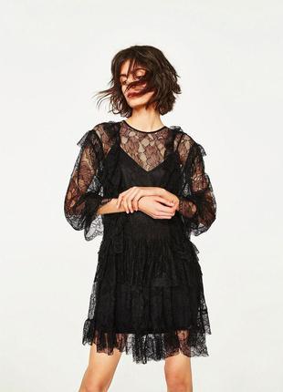 Поделиться:  кружевное платье с воланами zara