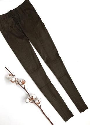Лосины леггинсы под замшу болотного цвета хаки (м)