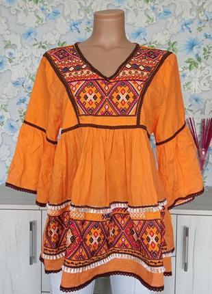 Яркая блузка блуза вышиванка nana бохо этно