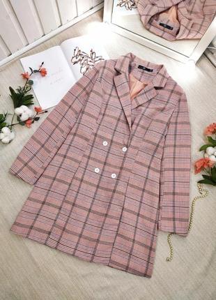 Шикарный удлиненный пиджак женское платье-пиджак в клетку трендовый пиджак