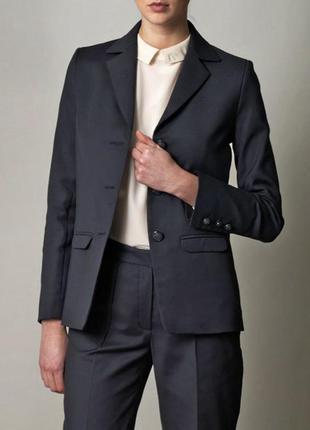Эксклюзивный синий офисный хлопковый школьный удлиненный пиджак жакет блейзер freda xs-s 8