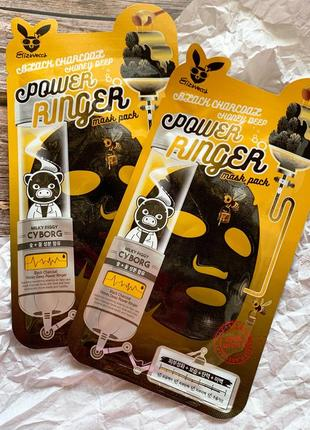 Тканевая маска для лица elizavecca black charcoal honey deep power ringer mask pack