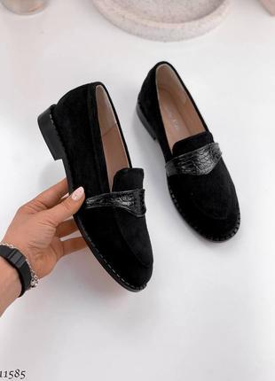 Чёрные замшевые туфли лоферы,туфли из натуральной замши