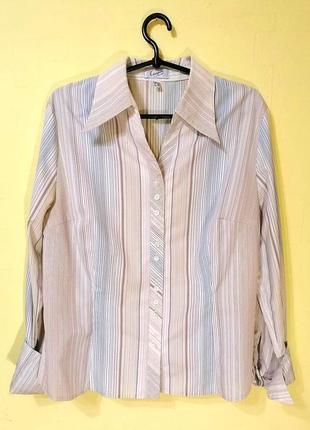 Женская офисная деловая рубашка блуза блузка в полоску украина plus size батал