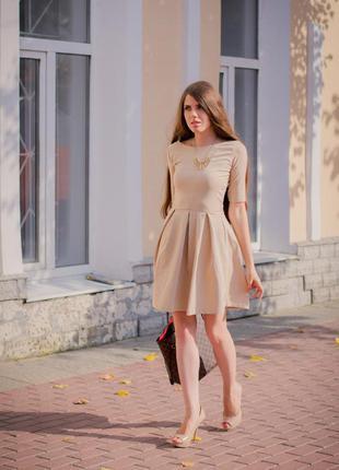 Трэндовое нюдовое/бежевое/кремовое платье 100% вискоза h&m