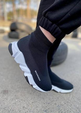 Женские чёрные кроссовки носки кеды чулки турция текстиль вязаные