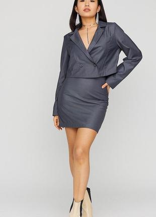 Нереально красивый юбочный костюм двойка пиджак и юбка мини высокая посадка