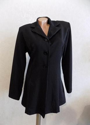Пиджак удлиненный в полоску черный на пуговицах gmbelle paris франция размер 48