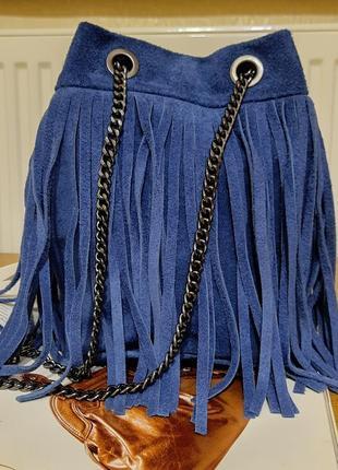 Синяя замшевая сумка на цепочках. италия