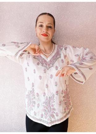 Рубашка с вышивкой блуза вышиванка хлопок ручная вышивка