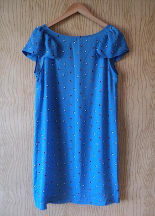 Новое платье zara рюшами воланами принтом горошек прямое голубое летнее коктейльное