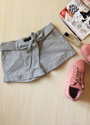 Хлопковые шортики с поясом в полоску в морском стиле amisu, pp s-xs