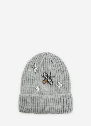 Новая шапка-бини с аппликацией «пчела» stradivarius стразы бисер