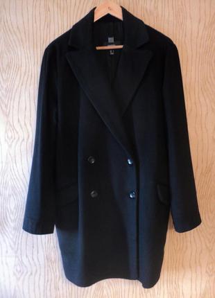 Пальто mango двубортное кашемировое шерстяное черное осеннее новое oversize тренд