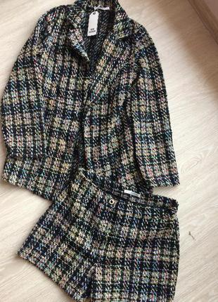 Твидовый костюм шорты и пиджак
