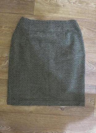 Шерстяная юбка прямого кроя с завишеной талией