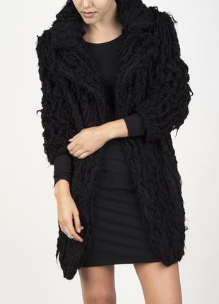 Новая шуба полушубок zara искусственного меха искусственная пальто зимнее черная oversize