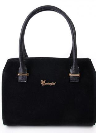 Замшевая деловая каркасная сумка саквояж женская черная
