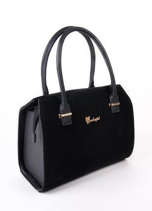 Замшевая деловая каркасная сумка саквояж женская черная, цена - 505 ... 061a89d6af1