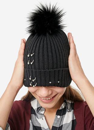 Новая шапка вязаная пирсинг stradivarius помпон бини