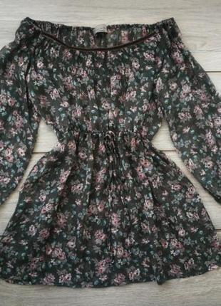 Гипюровпя блузка в цветочный принт