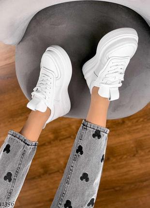 Шкіряні білі кросівки кеди на платформі