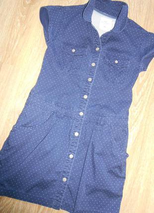 #джинсовое платье в горох р.s\m #h&m#стрейчевое джинсовое платье-рубашка # # #