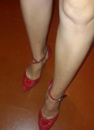 Кожаные замшевые босоножки-туфли. размер 36.