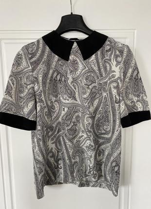 Винтажная блуза в принт «огурцы»