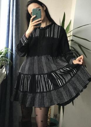 Хлопковое мини платье в полоску принт zara оверсайз