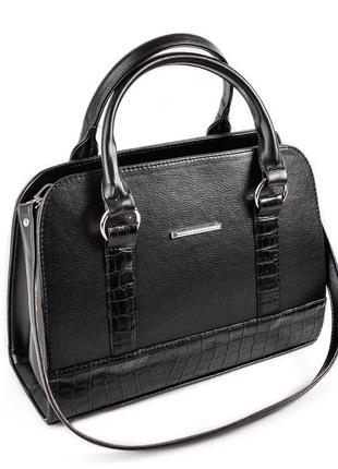 Женская черная сумка саквояж в деловом стиле черная с крокодиловыми вставками