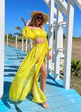 Пляжный комплект / костюм на пляж / шифоновый костюм / пляжная туника