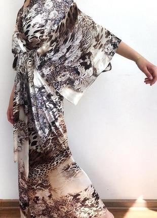 Стильное элегантное длинное кимоно атлас 42-50 халат