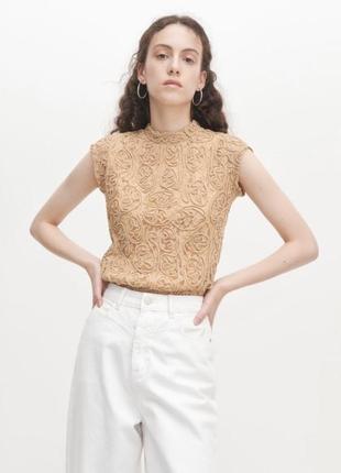 Стильная бежевая брендовая блузка reserved в деловом стиле без рукавов